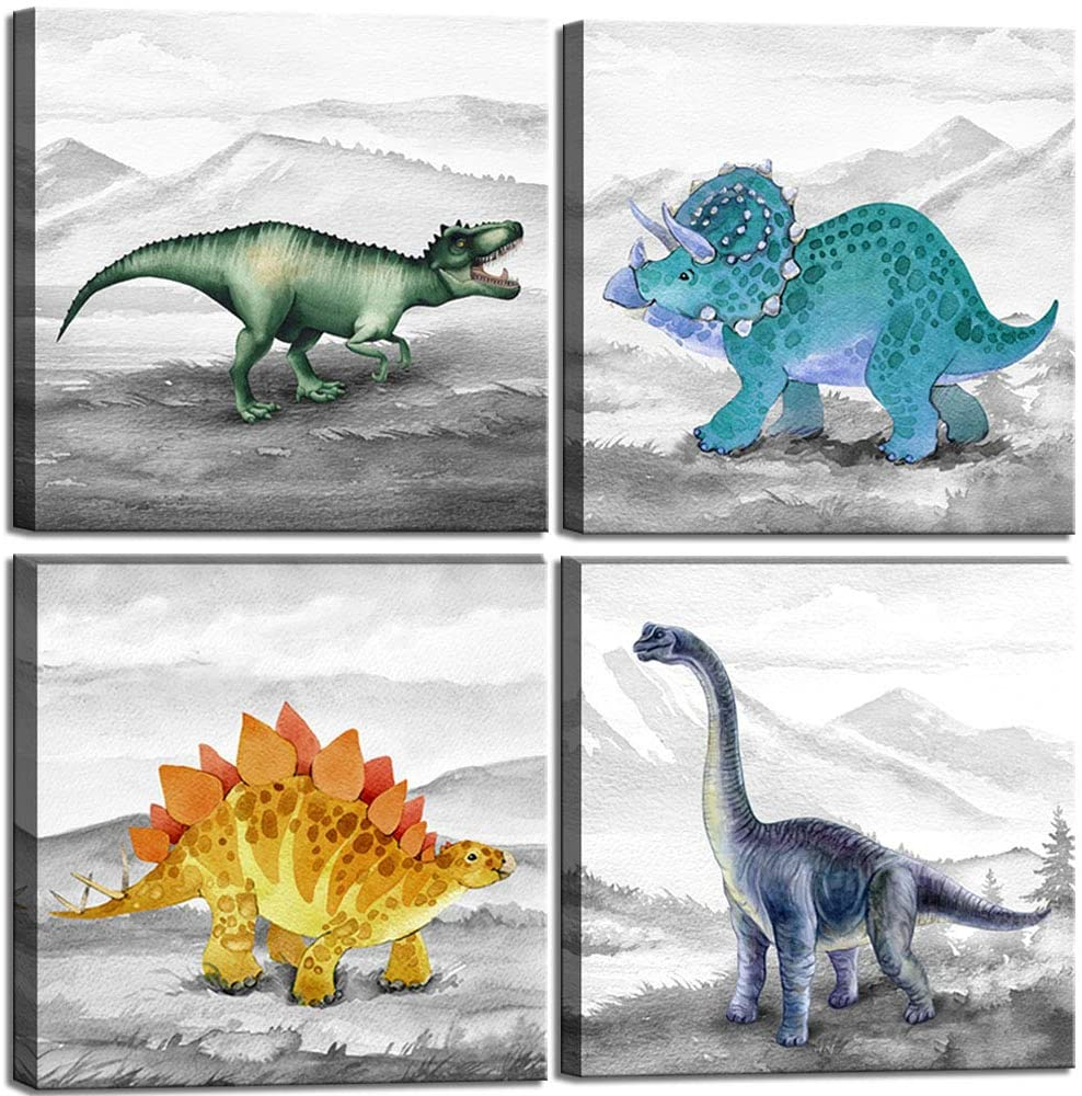 Dinosaur Bedroom Tulsa Mall Decor Max 76% OFF Wall Art Prints Gift for Idea Nursery and