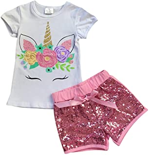 Little Girls 2 Pieces Short Set Unicorn Floral Tops Glitter Shorts Outfit 2T-8