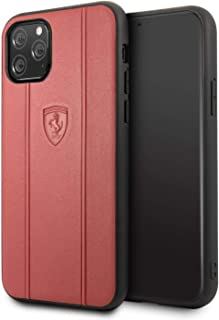 CG Mobile Ferrari Genuine Leather Hard Case for iPhone 11 Pro Cell Phone Cover Off Track Leather with Embossed Lines Red D...