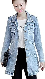 Women's Button Front Mid Long Denim Jean Jacket Coat