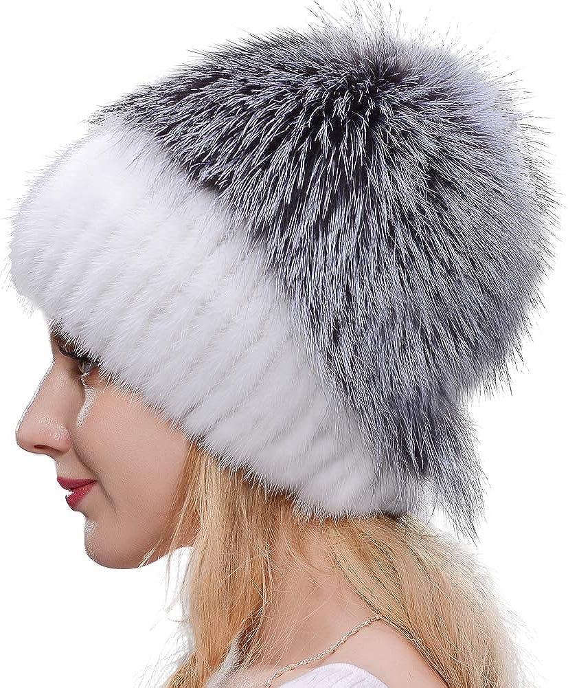 JERYAFUR Fashion shopping High material Mink Fur hat Winter Fox Grass Leather Stitching