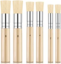 Outus 6 Pieces Wooden Stencil Brushes Pure Natural Stencil Brushes Painting Bristle Brushes for Acrylic Oil Watercolor Art...