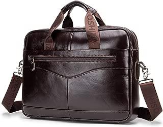 Men's Shoulder Bag, Popoti Leather Handbag Bag Briefcase Grand Laptop Bag School Bag Multifunctional Vintage Crossbody Messenger Bag (39X9X29CM, Coffee)
