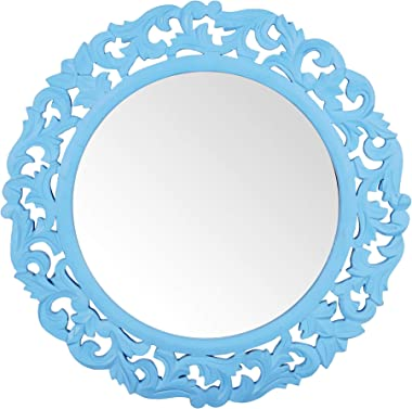 Timberly Wooden Wall Decorative Vintage Sunburst Mirror for Living Room Color : Blue (16 x 16 Inch)