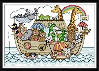 Joy Sunday Cross Stitch Kit 14CT Stamped Embroidery Kits Precise Printed Needlework - Noah's Ark (2) 49×36CM