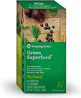 Amazing Grass Green Superfood: Organic Wheat Grass and 7 Super Greens Powder, 2 servings of Fruits & Veggies per scoop, Original Flavor, 15 Servings
