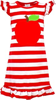 Girls' Americana Dress Holiday Birthday Spring Girls' Appliqued Skirt Dress 2 Piece Set Girls' Knit Floral Printed Voile Scallop Border Dress Girls Back to School Apple Shirt Dress