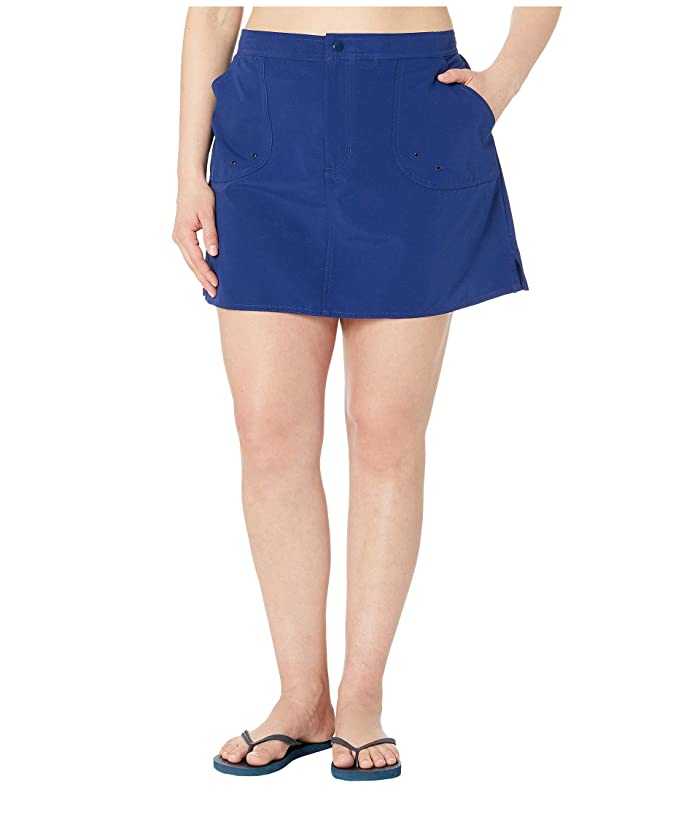 Maxine of Hollywood Swimwear Plus Size Solids Woven Boardskirt (Navy) Women