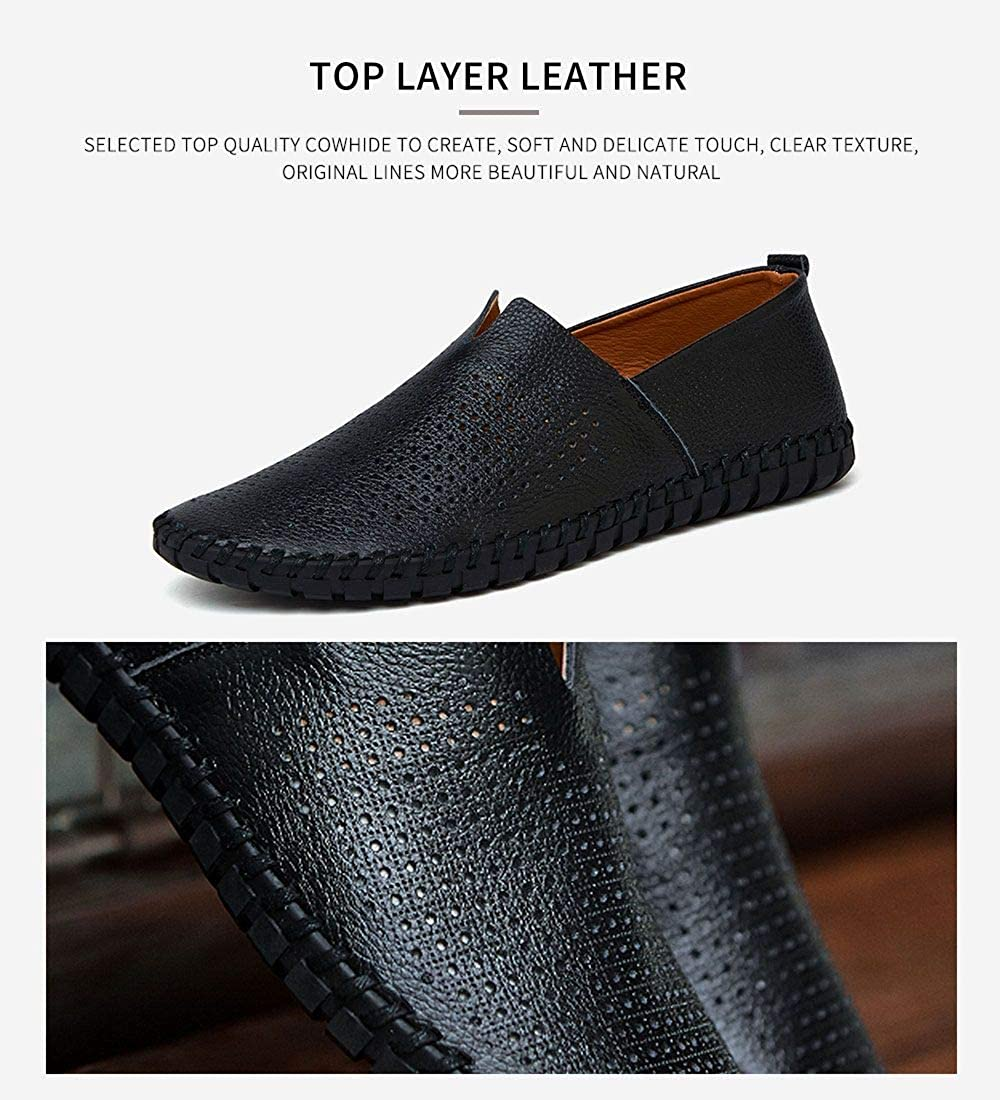 Mens Genuine Leather Loafer Shoes Slip On Soft Walking Driving Shoes