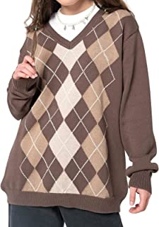 Argyle Jersey Y2k Ropa de moda Indie Preppy Ropa estética para mujer de manga larga oversize Casual Tops suéteres Streetwe...