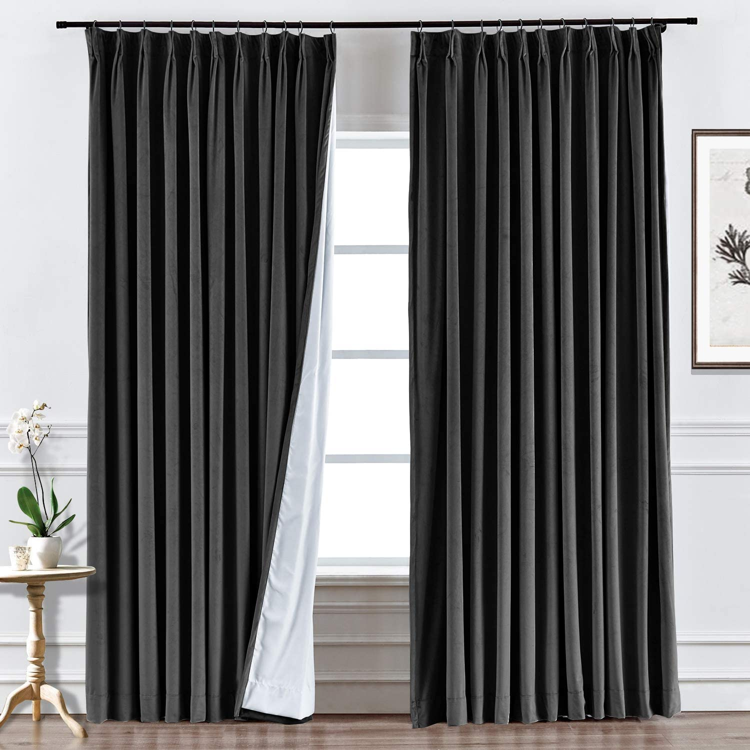 ChadMade Brand Manufacturer regenerated product new Pinch Pleated 50W x 96L Inch Thermal Ins Velvet Curtain