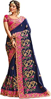 Kishna-e fashion Women's Embroidered Georgette Saree With Blouse Piece