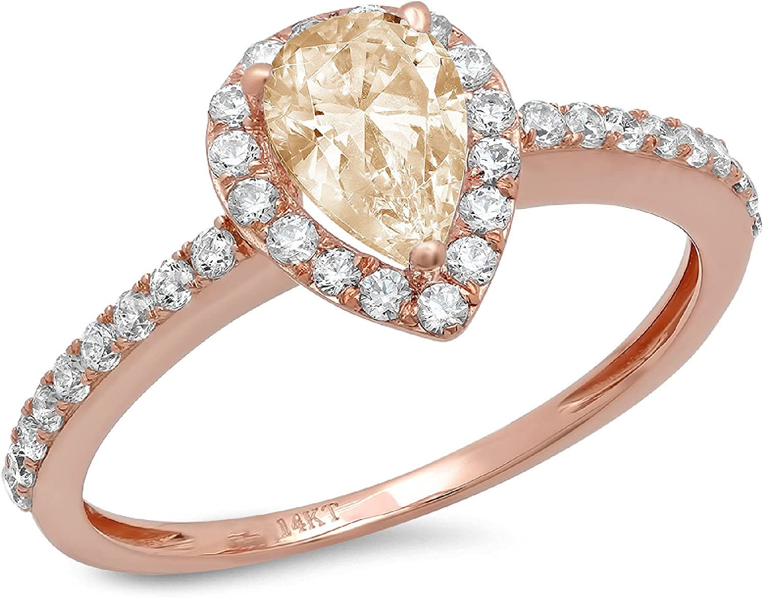 1.27 Brilliant Pear Cut Solitaire with accent Stunning Genuine VVS1 Simulated Yellow Moissanite Modern Promise Designer Ring 18K Rose Gold