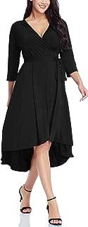 Women's Casual Plus Size High Low A Line V Neck 3/4 Sleeve Midi Cocktail True Wrap Dress