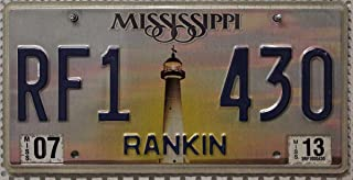 Mississippi Auto Kennzeichen mit Motiv Leuchttum // USA Metallschild mit Grafik // US License Plate Lighthouse Graphic // KFZ Blechschild
