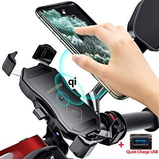 Motorcycle Wireless Qi/USB Quick Charger Phone Holder Handlebar/Rear-View Mirror Cellphone Mount with Waterproof Switch 10A Fuse Fast Charging for iPhone Samsung 3.5-6.5 inch Phones