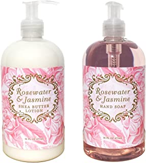 Greenwich Bay Hand & Body Lotion and Hand Soap Duo Set Enriched With Shea Butter 16 oz ea. (Rosewater Jasmine)