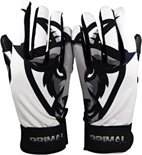 PrimalBaseball Youth Batting Gloves for Sports Players - C1COOP G.O.A.T. | White/Black