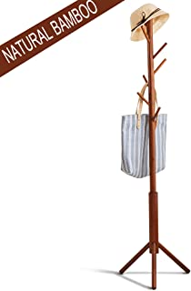 FILWH Premium Bamboo Coat Rack Tree with 8 Hooks, 3 Adjustable Sizes Free Standing Wooden Coat Rack, Super Easy Assembly Hallway, Entryway Coat Hanger Stand for Clothes, Suits