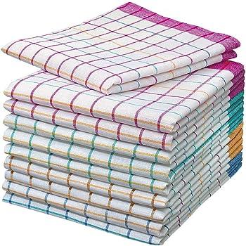 Home-Tex© - Juego de 10 trapos de cocina | Trapo seco | Trapos multiusos y multicolores a cuadros, de 50 x 70 cm y 100% algodón | Öko-Tex Standard |: Amazon.es: Hogar