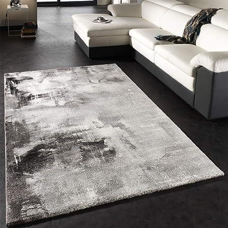 paco home teppich modern designer teppich leinwand optik grau schwarz weiss meliert grosse 160x230 cm