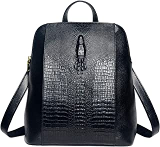 Coolcy New Fashion Casual Women Genuine Leather Backpack Shoulder Bag (Black)