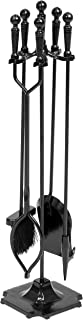 Best Choice Products 5-Piece Rustic Indoor Outdoor Fireplace Hearth Wrought Iron Fire Wood Tool Set w/Tongs, Poker, Broom, Shovel, Stand - Black
