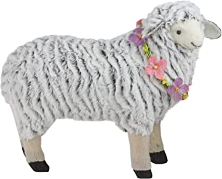 """Northlight 13"""" White and Brown Plush Standing Sheep Spring Easter Figure"""