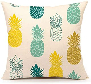 """4TH Emotion Pineapples Throw Pillow Cover Summer Beach Decor Cushion Case Decorative for Sofa Couch 18"""" x 18"""" Inch Cotton Linen(Blue Yellow)"""