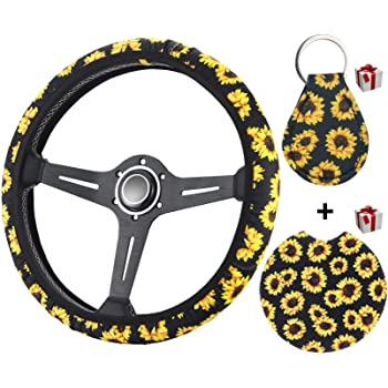 Lisaion Automotive Cute Universal Car Steering Wheel Cover 2019 New for Women Sunflower