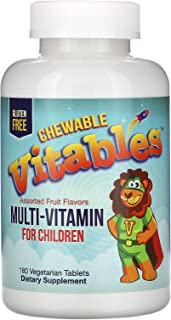 Vitables Multi-Vitamin for Children, Assorted Fruit Flavors, 180 Vegetarian Tablets