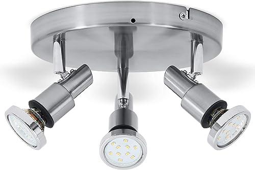 B.K.Licht plafonnier LED 3 spots orientables, plafonnier salle de bain, chrome, lumière blanche chaude, IP44, 230V, 3...