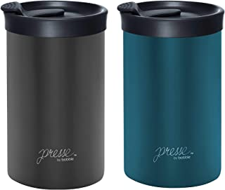 PRESSE Coffee Press + Travel Tumbler 13oz | Brew and go in 3 minutes - Stainless Steel, Dishwasher safe, Triple Layer Insulation - (2 PACK) (Peacock/Gun Metal)