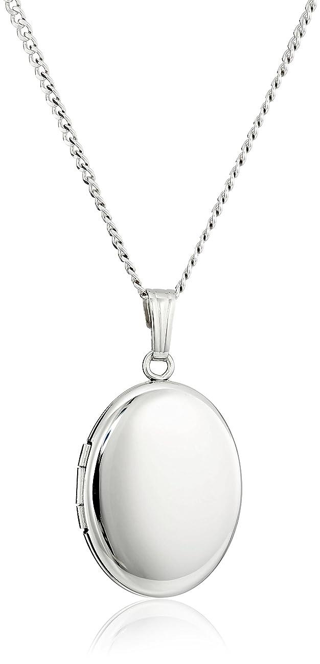 Sterling Silver Polished Oval Locket Necklace