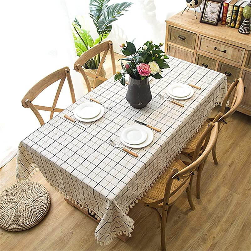 Eanpet Checkered Tablecloth Tassel Rectangle Linen Table Cloth Waterproof Desktop Cabinet Tabletop Cover For Dining Room Kitchen Office Laundry Thanksgiving Decor Picnic Pad White 55x86 Inch