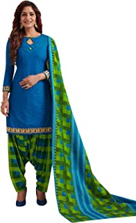 S Salwar Studio Women's Blue & Green Cotton Printed Readymade Patiyala Suit Set-SSCELEBRATION-1024