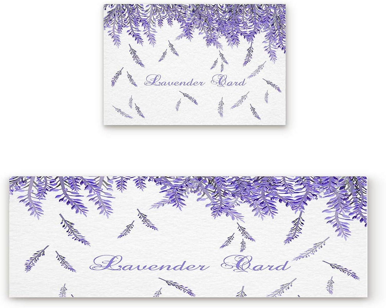 BestLives Kitchen Rugs Set of 2 Piece Non-Slip Kitchen Mat Runner Rug Doormat Purple Lavender Flower Field Door Mats Rubber Backing Carpet Indoor Floor Mat 23.6x35.4in+23.6x70.9in