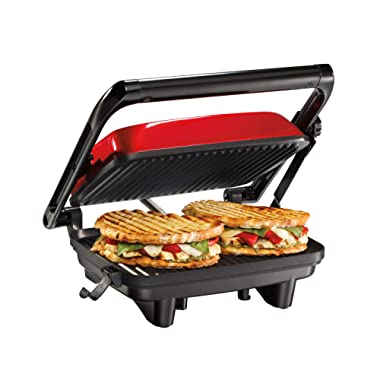 Hamilton Beach Electric Panini Press Grill With Locking Lid, Opens 180 Degrees For Any Sandwich Thickness, Nonstick 8  X 10  Grids, Red (25462Z)