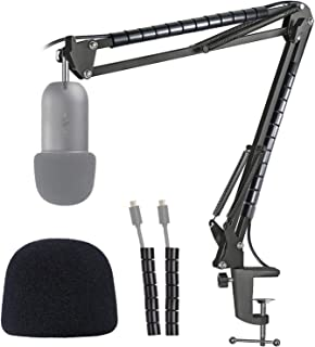 K678 Microphone Stand with Foam Windscreen - Mic Suspension Boom Scissor Arm Stand with Pop Filter, Cable Sleeve Compatibl...