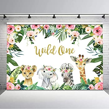 10x7ft Jungle Animals 1st Birthday Party Photography Background COMOPHOTO Wild One Birthday Party Backdrop Safari Tropical Leaves Backdrops for Boys First Birthday Cake Table Decorations
