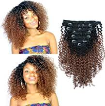 Sassina 3C 4A Ombre Kinky Curly Clip In Human Hair Extensions For African American Black Women Double Wefts Natural Black Fading to Ginger 120 Grams 7 Pieces Per Bundle with 17 Clips KC TN30 16 Inch