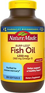 Nature Made Burp-Less Fish Oil 1200 mg, 200 Softgels, Fish Oil Omega 3 Supplement For Heart Health
