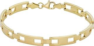 KoolJewelry Men's or Women's 14k Yellow Gold H Link Bracelet (5.1 mm, 8.25 inch)