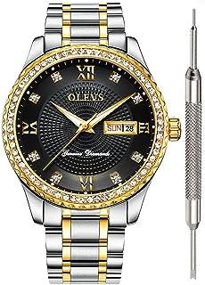 Men Quartz Business Watch with Stainless Steel Band Classic Waterproof WatchesUnique Wristwatch Gold Watch OLEVS