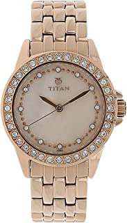 Titan Purple - Glam Gold Analog Mother of Pearl and Pink Dial Women's Watch -NK9798WM01