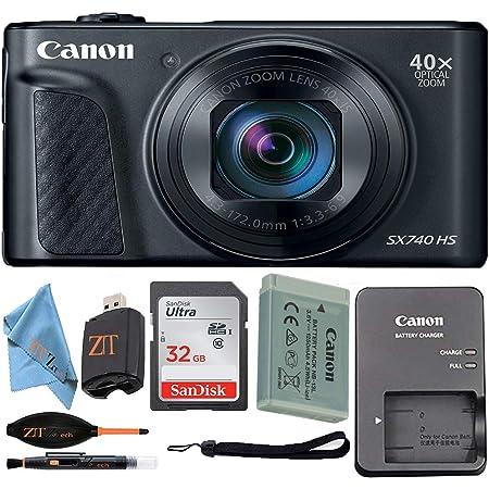 Canon PowerShot SX740 HS Digital Camera (Black) with Sandisk 32GB Card + ZeeTech Accessory Kit (Starter Bundle)