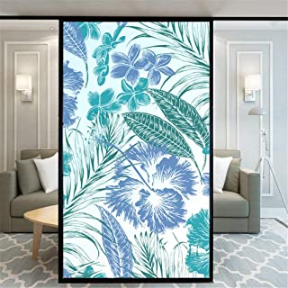 YZX Tropical Plant Decorative Window Film Privacy Non-Adhesive Window Stickers Frosted Window Coverings Self Static Cling Window Tint for Home Loby Window 35x78.7 Inches(90x200cm)
