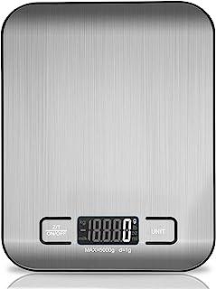 Balance de cuisine numérique, balance de cuisson électronique en acier inoxydable de 5 kg, balance pour aliments ultra-min...