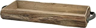 Stonebriar Rectangle Natural Wood Bark Serving Tray with Metal Handles, Rustic Butler..