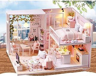 RFSTGYU Dollhouse Miniature With Furniture, DIY Wooden Dollhouse Kit Plus Dust Proof Creative Handcraft LED Light Furnitur...